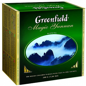 Чай черный Greenfield Magic Yunnan 100 пакетиков фото в on-line гипермаркете Kofe-Da.ru